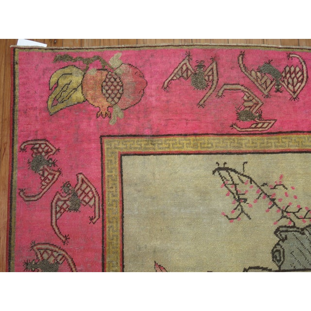 Bright Pink Boho Chic 19th Century Khotan Rug, 4'6'' x 6'10'' For Sale - Image 5 of 9
