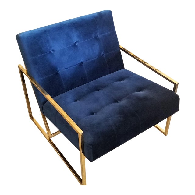 Jonathan Adler Goldfinger Blue Velvet & Brass Lounge Chair For Sale