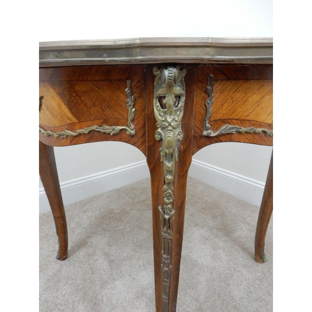 Antique French Inlaid Marble Top Table For Sale - Image 10 of 11