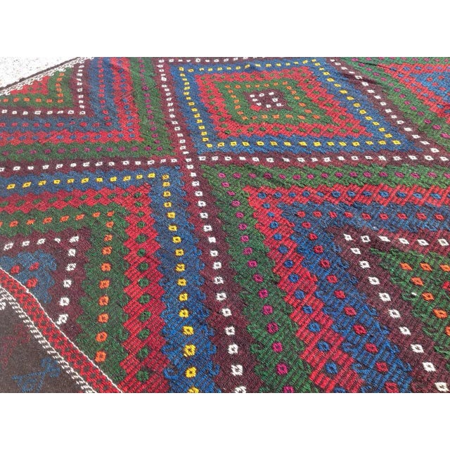 "Vintage Turkish Kilim Rug - 8'4"" x 9'4"" For Sale - Image 5 of 7"