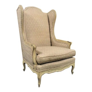 Louis XV Style Cream Wingback Chair For Sale