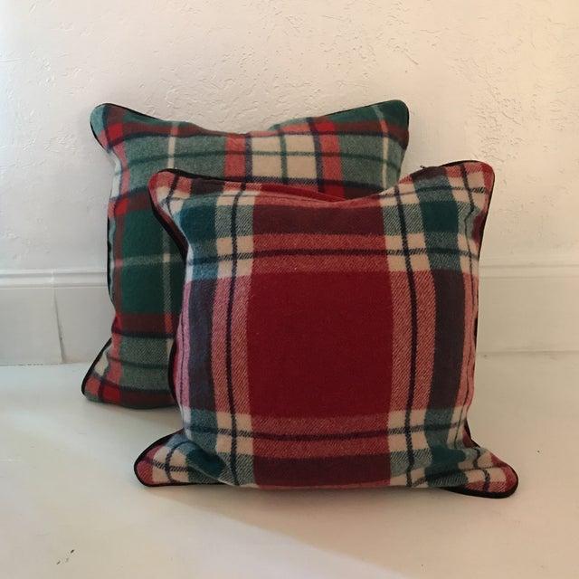 Vintage Stadium Blanket Wool Velvet Pillows - a Pair For Sale In Dallas - Image 6 of 6