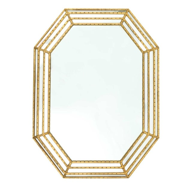Labarge Labarge Gold Faux Bamboo Mirror For Sale - Image 4 of 5