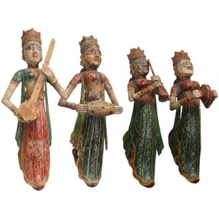 1920s Solid Wood Figures of Lady Musicians - Set of 4 For Sale