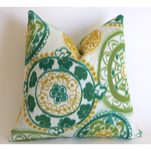 Mid-Century Modern Sunbrella Suzani Outdoor Pillow Cover 20x20 For Sale - Image 3 of 5