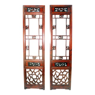 1800-1849 Antique Chinese Cunninghamia Wood Screen Panels - a Pair