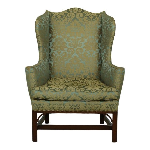 Kittinger Chippendale Mahogany Wing Back Chair For Sale