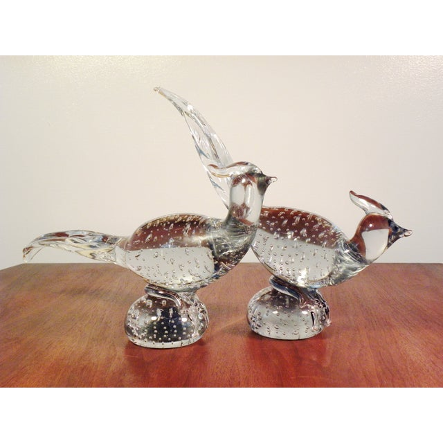 Art Glass Pheasant Figurines - A Pair - Image 2 of 5