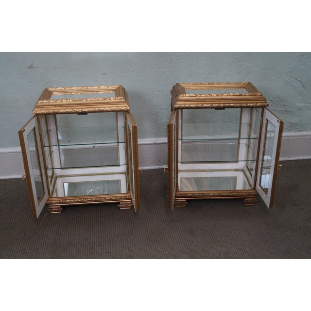 Gilt French Louis XV Vitrine End Tables - Pair - Image 4 of 10