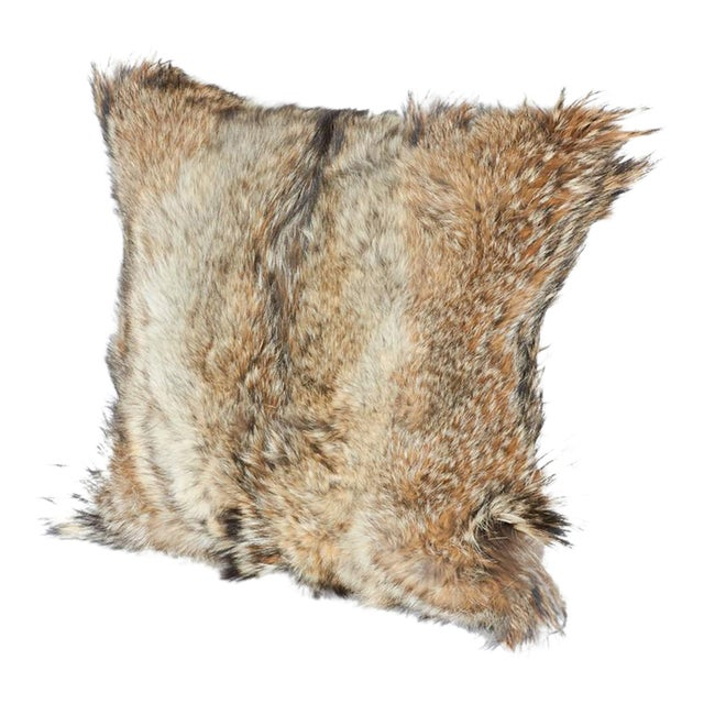 Pair of Luxury Fur Throw Pillows in Genuine Coyote and Cashmere For Sale - Image 4 of 10