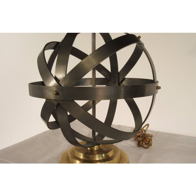 Metal 1970s Metal Orb Lamp With Metal and Brass Shade For Sale - Image 7 of 12