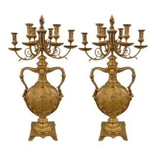19th Century Bronze Candelabras Barbedienne, French Stamped, a Pair For Sale