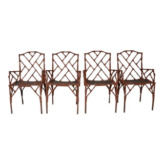 1950s Vintage Faux-Bamboo Metal Arm Chairs- Set of 4 For Sale