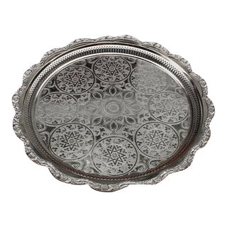 Moroccan Silver Tray W/ Ornate Pattern For Sale