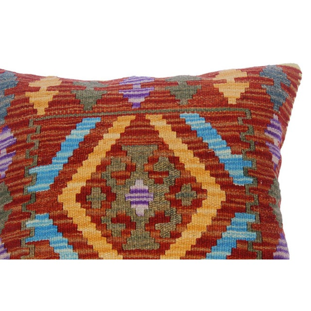 "Charlsie Red/Pink Hand-Woven Kilim Throw Pillow(18""x18"") For Sale - Image 4 of 6"