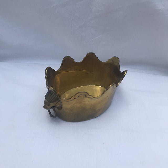 1980s Brass Scalloped Rim Planter With Lion's Head Handles For Sale - Image 5 of 7
