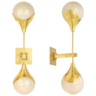 Italian Murano Opal Glass and Brass Wall Sconces - a Pair For Sale