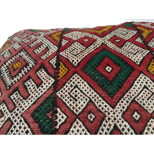 Mid 20th Century Moroccan Berber Handwoven Tribal Vintage Pillow For Sale - Image 5 of 9