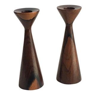 Danish Modern Brazilian Rosewood Candle Holders - A Pair