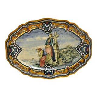 19th Century French Oval Hand-Painted Faience Wall Platters - A Pair