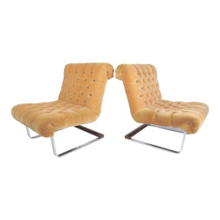 Pair Italian Modern Slipper Chairs For Sale