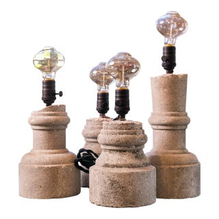 Four Carved Stone Table Lamps For Sale