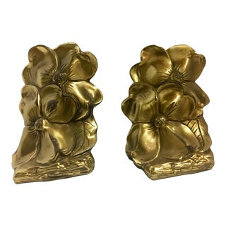 Vintage Brass Floral Bookends - A Pair