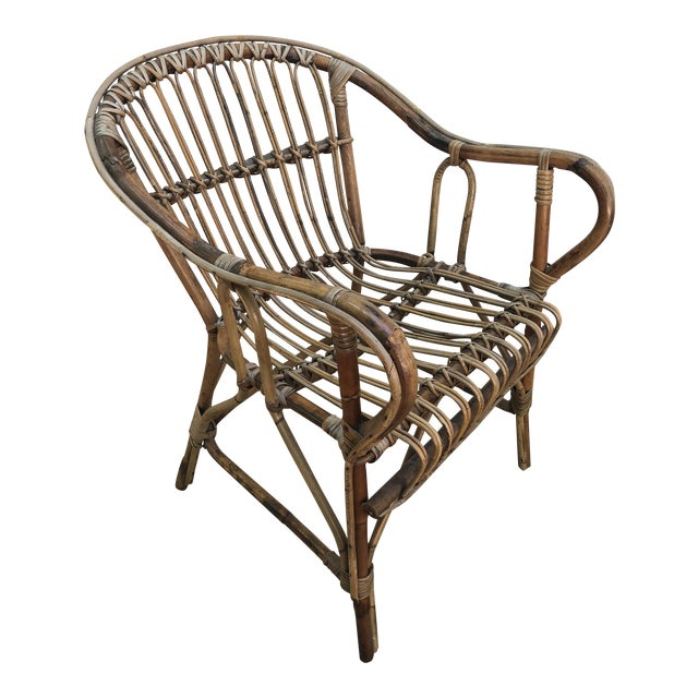 Franco Albini Style Bamboo Arm Chair For Sale
