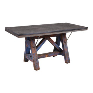 1910s Industrial Stone Dining Table With Blue Base For Sale