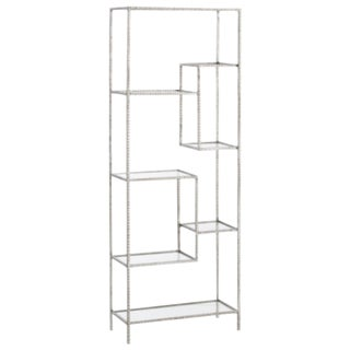 Arteriors Modern SIlver Leaf Finished Ribbed Metal Etagere For Sale