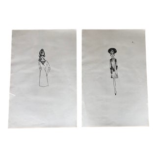 Mid-Century Modern Original Pen and Ink Fashion Sketches - a Pair For Sale