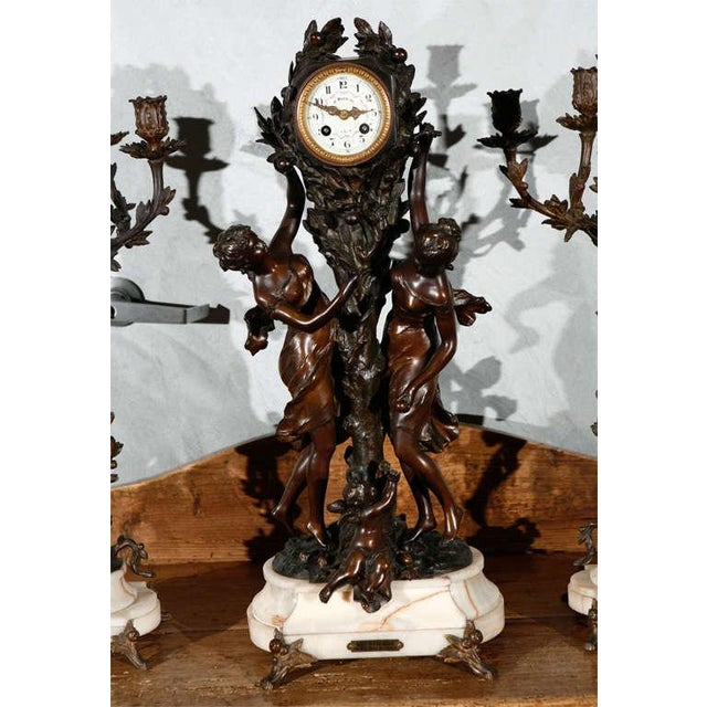 French Large Antique French Clock Set with Pair of Candelabra For Sale - Image 3 of 8