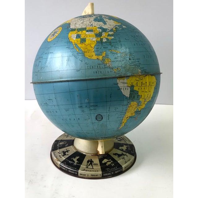 Retro Metallic World Globe With Zodiac Base For Sale In Atlanta - Image 6 of 13
