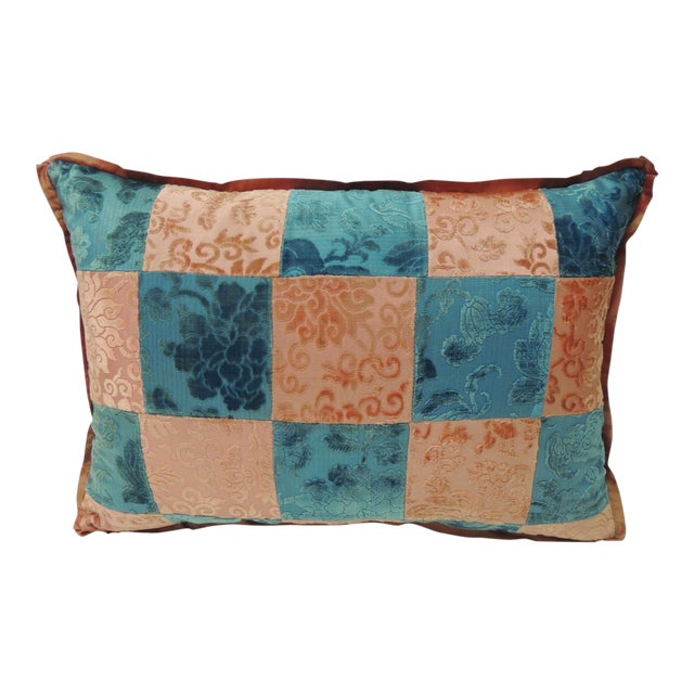 Pink and Blue Romance Through the Gilded Age's Asian Textiles Patchwork Pillow For Sale