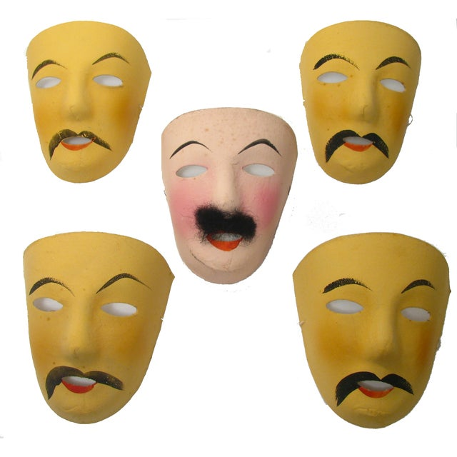 Vintage French Mardi Gras Masks - Set of 5 - Image 2 of 5