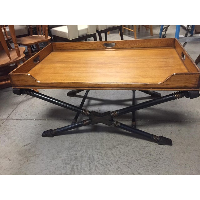 Campaign Vintage Drexel Heritage Coffee Table With X Base and Butler's Tray Top For Sale - Image 3 of 4