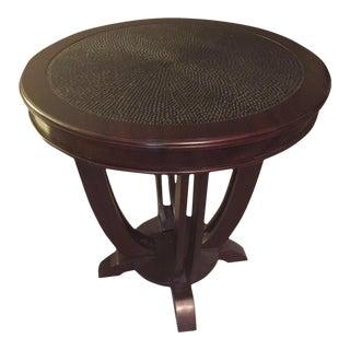 Palecek Hand Carved Wooden Side Table For Sale