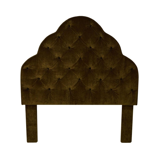 Robert Allen Tufted Upholstered Full Size Headboard For Sale