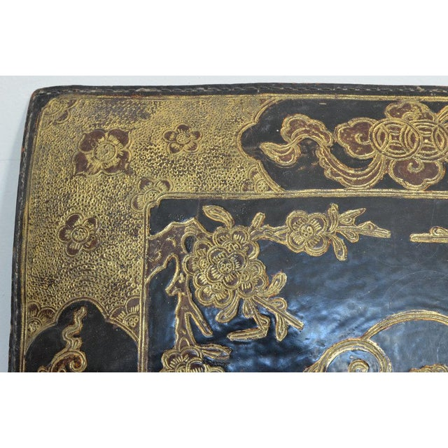 Chinese Embossed Leather Cushions For Sale - Image 9 of 11