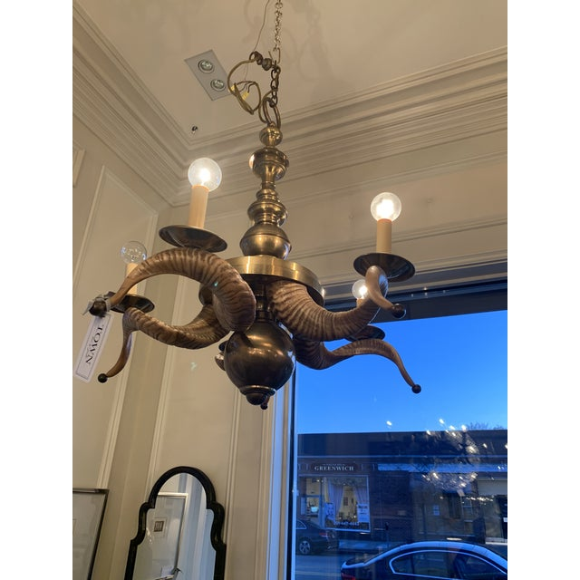 Rustic Chapman Brass and Rams Horn Chandelier For Sale - Image 3 of 5