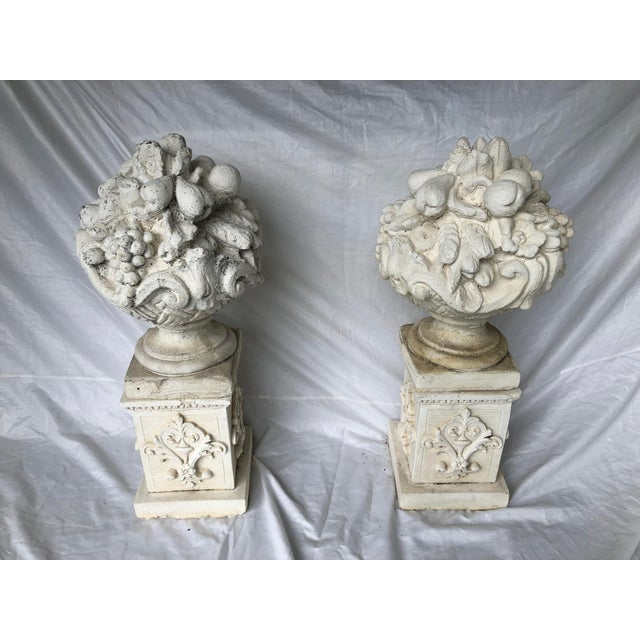 Rare vintage pair- Cast Stone French Style Fruit Basket Finials on Decorated Pedestals. Lovely architectural elements...
