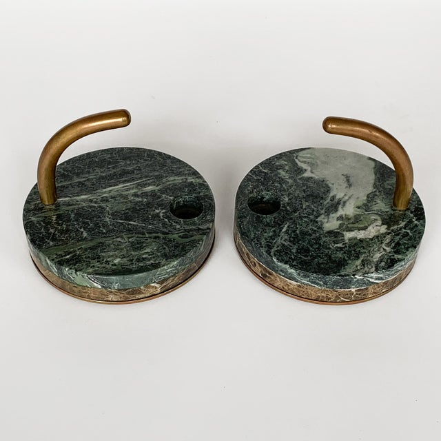 Italian Pair of Italian Modernist Marble and Bronze Candle Holders For Sale - Image 3 of 10