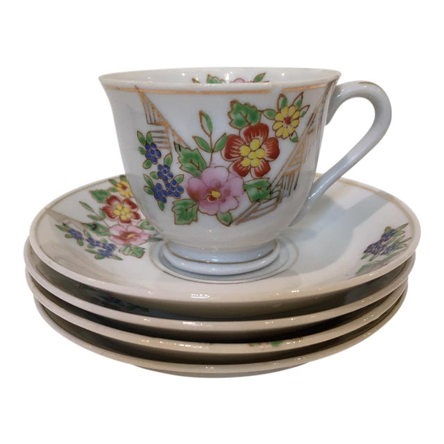 Japanese Tea Cup and Saucers - 5 Piece Set For Sale