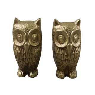 Brass Plated Owl Figurines - A Pair