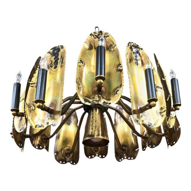 Tom Greene for Feldman Brutalist Brass Chandelier For Sale