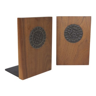 Martz Bookends Marshall Studios Mid Century Modern Walnut & Brutalist Tile Bookends - a Pair For Sale