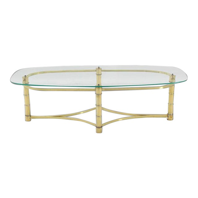 Mid Century Modern Brass And Glass Oval Coffee Table Chairish