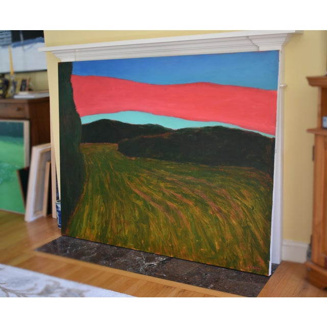 """Blue """"Sunset Over Tilled Fields"""" Large Painting by Stephen Remick For Sale - Image 8 of 11"""