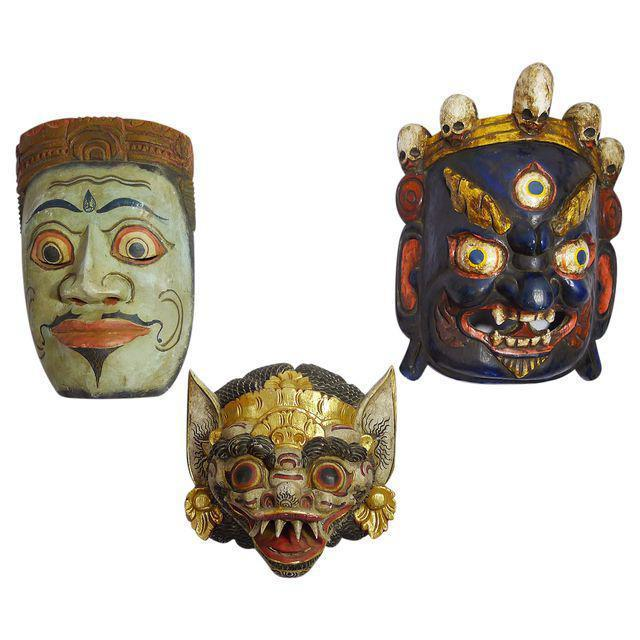 Vintage Hand-Carved & Painted Masks - Set of 3 - Image 5 of 5