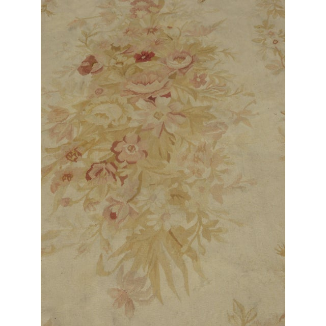 Vintage Tan Floral Aubusson Area Rug - 8′6″ × 11′7″ - Image 11 of 11